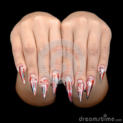 Hand of young woman with manicure on nails
