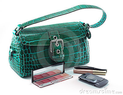 Handbag with cell phone and makeup