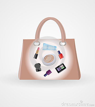 Handbag with cosmetics