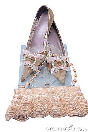 Handbag with pair woman shoes