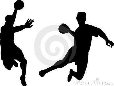 Handball player jumping with ball