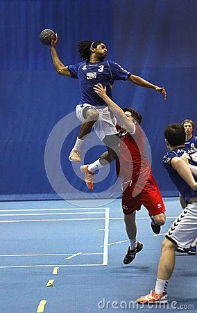 Handball team man jump shot Editorial Image