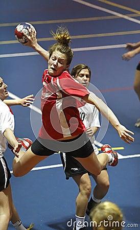 Handball team player jump shot