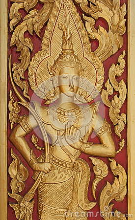Handcraf thai style golden Deva carving .