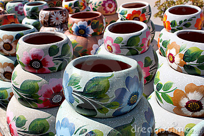 Handcrafted colorful clay pottery