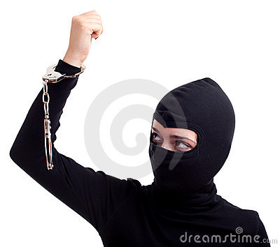 Handcuffed female thief