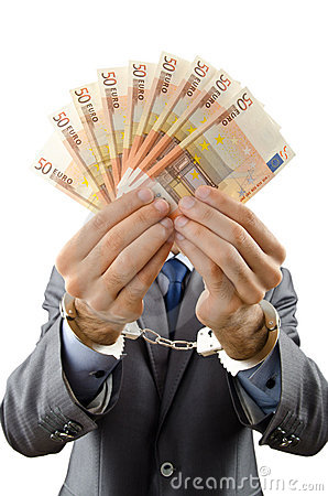 Handcuffed man with  banknotes