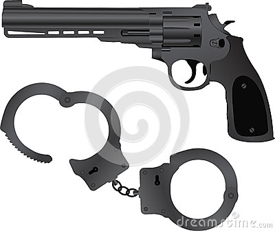 Handcuffs and pistol