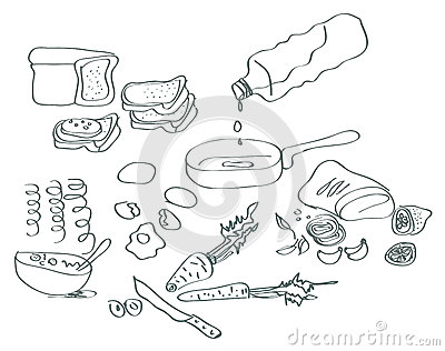 Handdrawn cooking elements