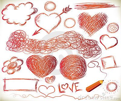 Handdrawn hearts