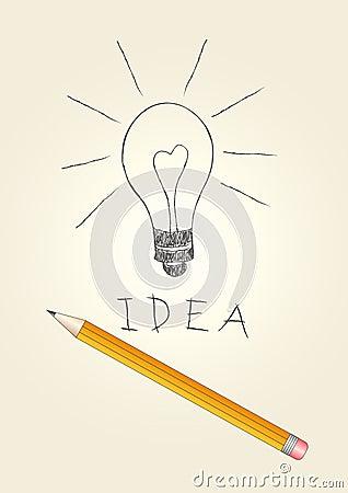 Handdrawn light bulb and pencil