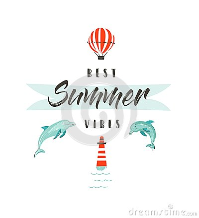 Free Handdrawn Vector Abstract Summer Time Fun Illustration Logotype Or Sign With Dolphins,hot Air Balloon,lighthouse And Royalty Free Stock Images - 96809879