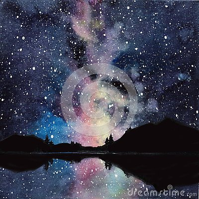Free Handdrawn Watercolor Galaxy, Stars In The Night Space. Beautiful Milky Way Stock Image - 133053511