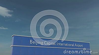 Handels- Flugzeuglandung an der ernstlich internationalen Begriffs-Animation 4K Flughafens 3D Pekings stock footage