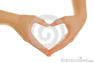 Handen die een hart vormen