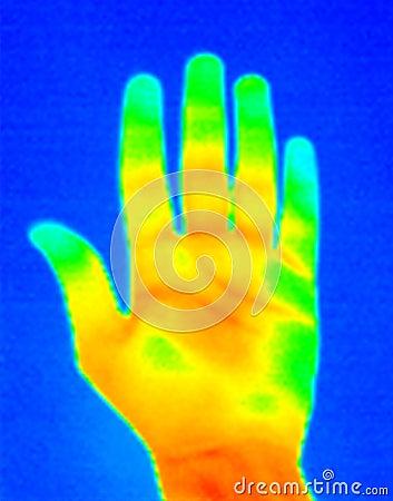 Handen gömma i handflatan thermographen