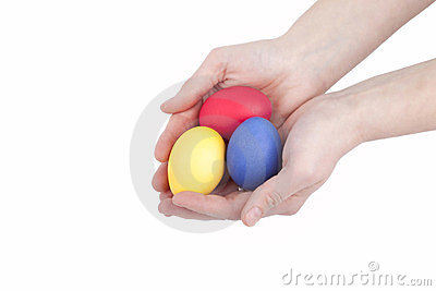 Handful colored easter eggs