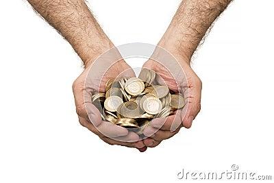 Handfuls of Turkish coins