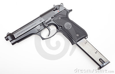 Handgun with extended magazine Editorial Stock Image