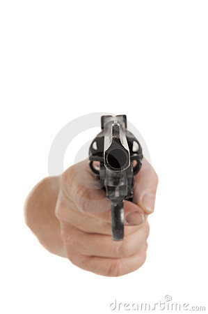 Handgun pointed at viewer