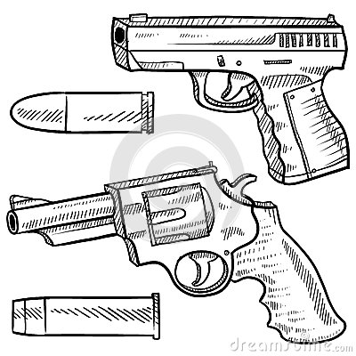 Handguns vector sketch