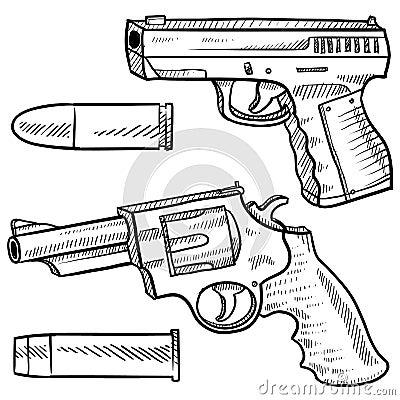 Handguns vector sketch