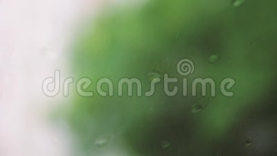 Handheld: Windscreen Wipers During A Rain, Blurry Natural Background. Close up stock footage