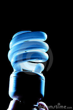 Handholding cfl blaue Glühlampelampe