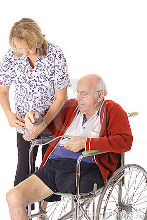 Handicap patient and nurse