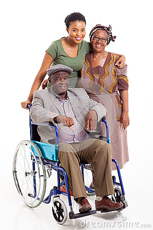 Handicapped african man wife daughter