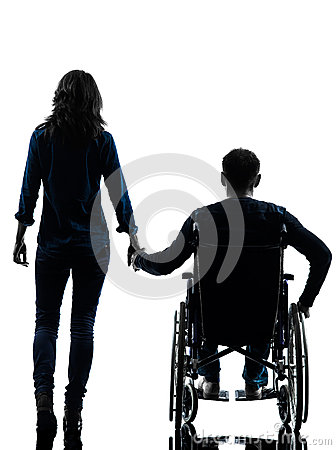 Handicapped man in wheelchair and woman holding hands for Chaise 3d dessin