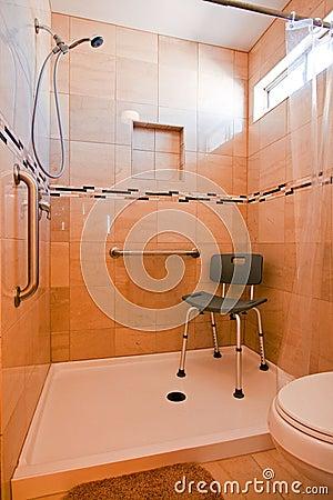 Handicapped shower stall