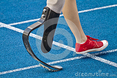 Handicapped sprinter walking