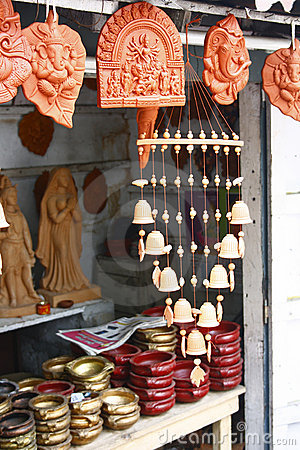 Handicraft Shop Selling Carved Hindu God Idols