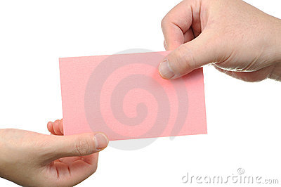 Handing empty pink business card