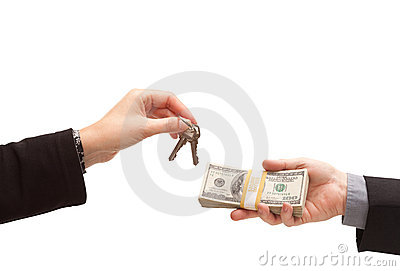 Handing Over Cash For Keys Isolated