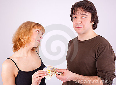 Handing over money