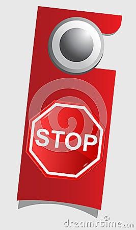 Handle door with stop sign