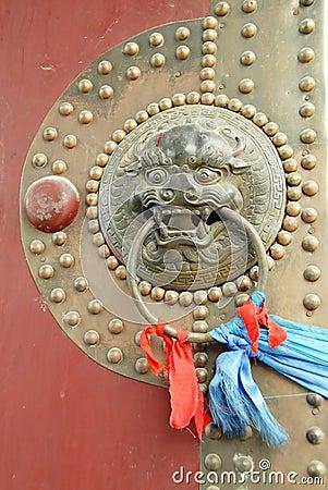 The handle of old door in china
