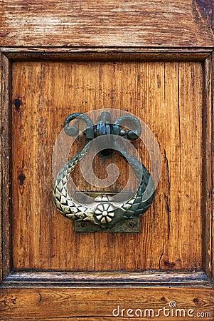 Handle of a wooden door