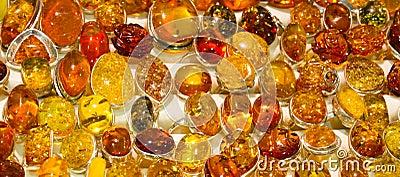 Handmade amber rings