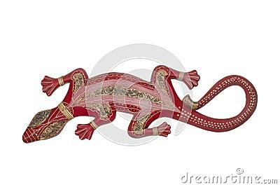 Handmade antique african wooden lizard