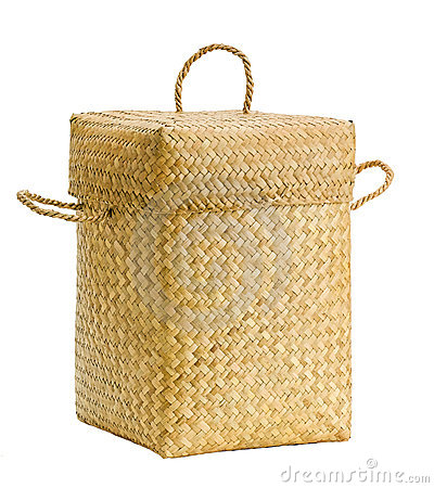 Handmade bamboo basket isolated