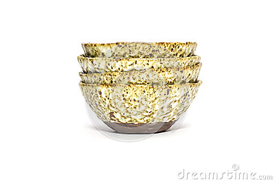 Handmade ceramic bowls isolated on white