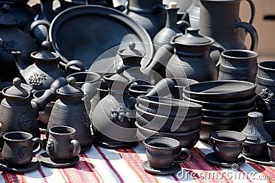 Handmade ceramic pottery street handicraft market