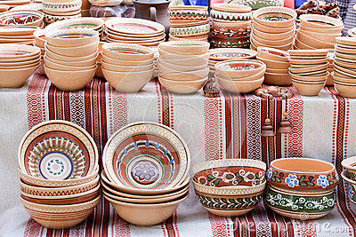 Handmade ceramics souvenirs at handicraft market