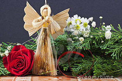 Handmade Christmas Ornament with Angel - Macro