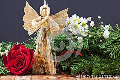 Handmade Christmas Ornament with Angel - Macro