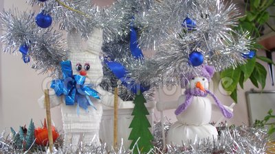 Handmade Christmas Toys Under Christmas Tree Hare And Snowman