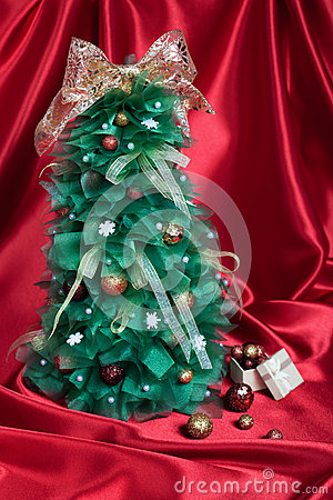 Handmade Christmas Tree on Red Drapery